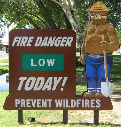 A photo of a Smokey Bear sign displaying Low fire danger