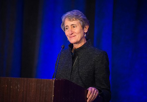 "Sally Jewell gives the keynote address for the, ""Ecosystem Services and Public Policy: Status, Opportunities and Challenges"" session"