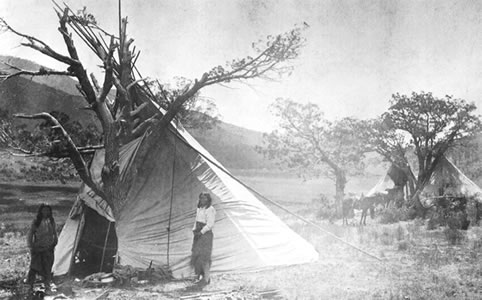 A photo of a wickiup, conical-shape dwellings used by the Ute Mountain Ute Tribe of southwestern Colorado.