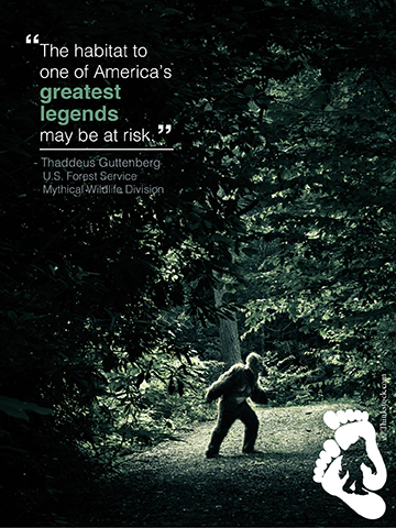 The North American Bigfoot. Illustration by Mary Horning, U.S. Forest Service.