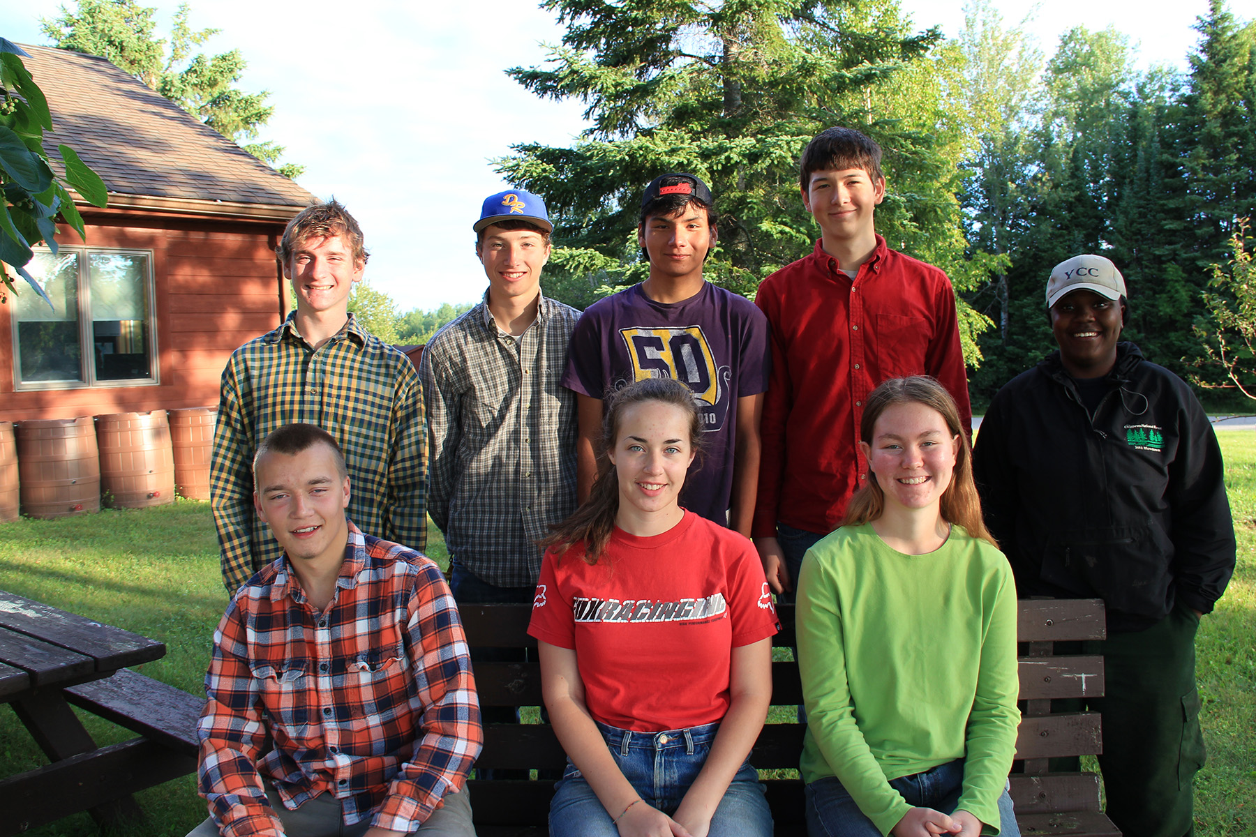 A photo of 8 interns on the Chippewa National Forest in Minnesota.