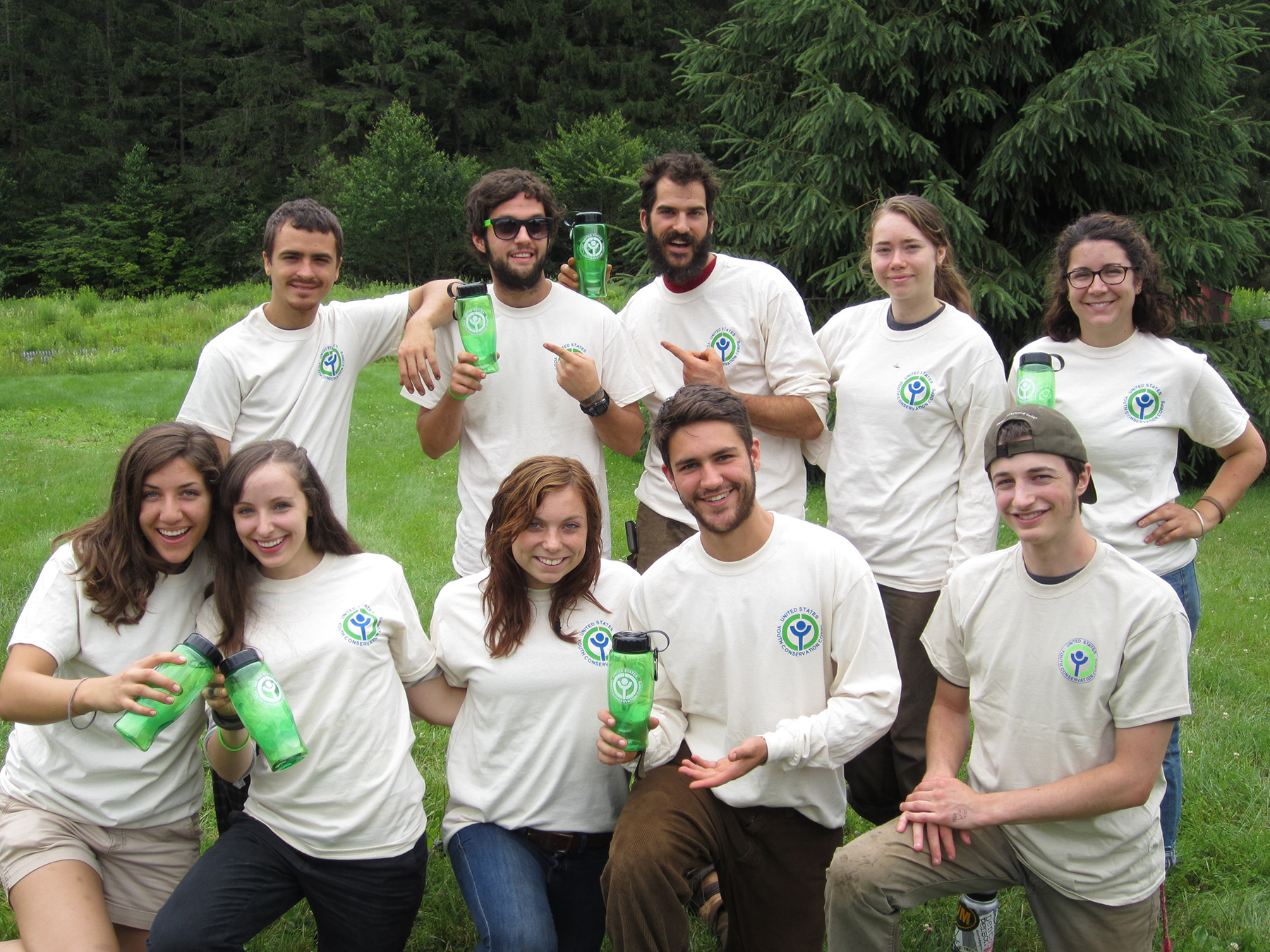 A photo of 10 youths from the Vermont Youth Conservation Corps.