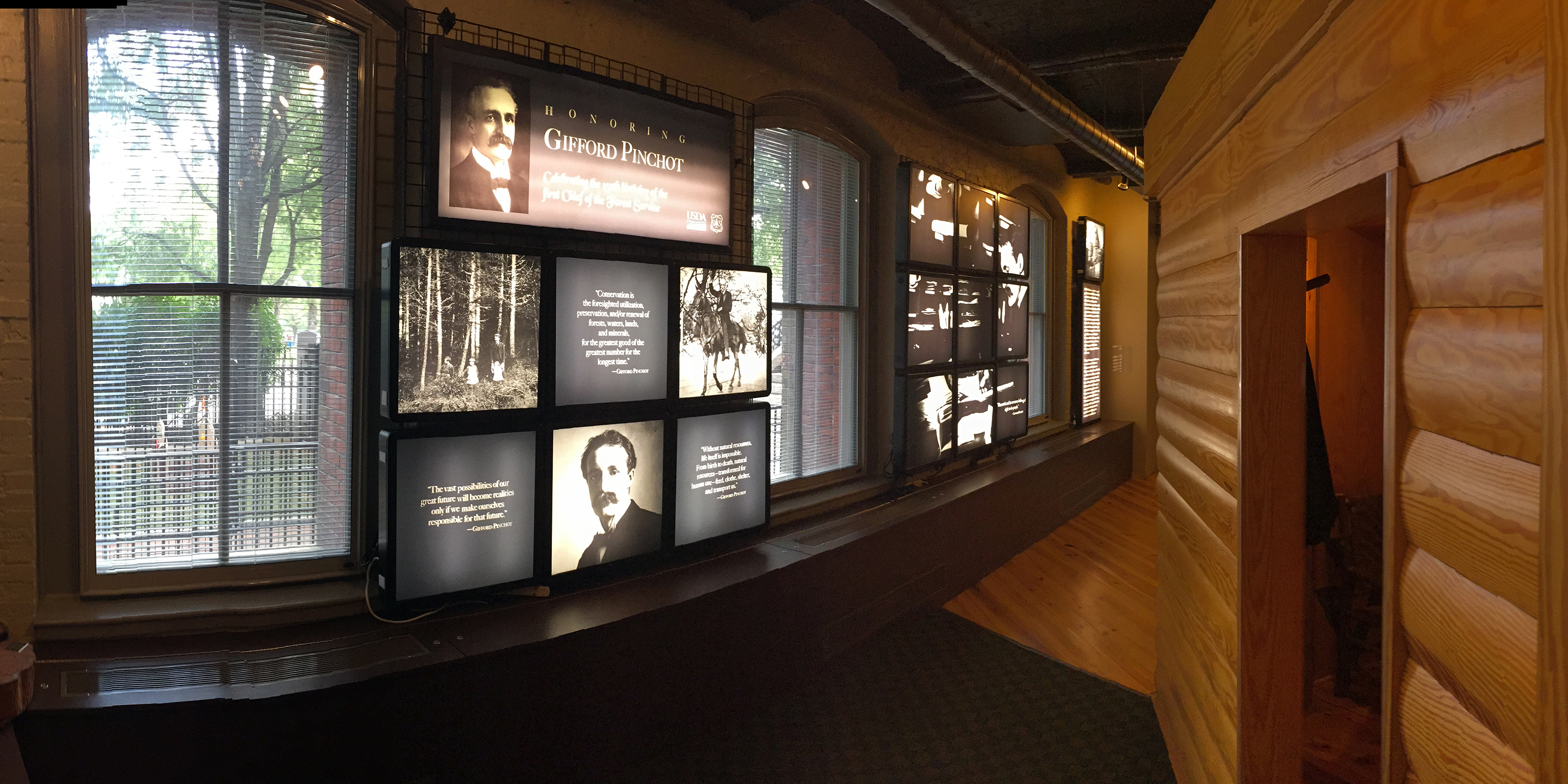 Large display panels honor Gifford Pinchot's 150th Birthday at the U.S. Forest Service headquarters in Washington, D.C. (USFS Photo)