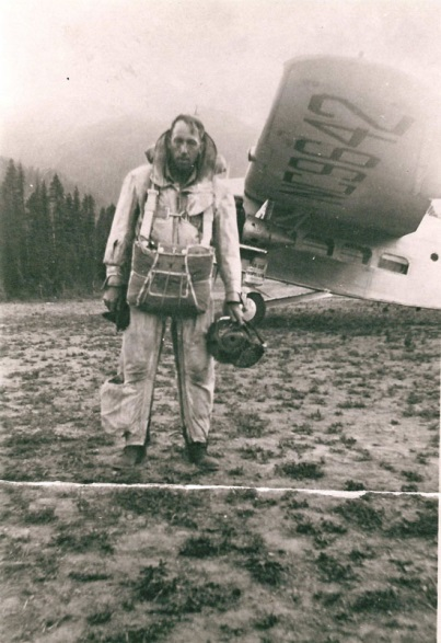 Rufus Robinson (pictured) and Earl Cooley are the first two men to parachute from an airplane to fight a forest fire on the Nez Perce National Forest on July 12, 1940. (USFS Photo)