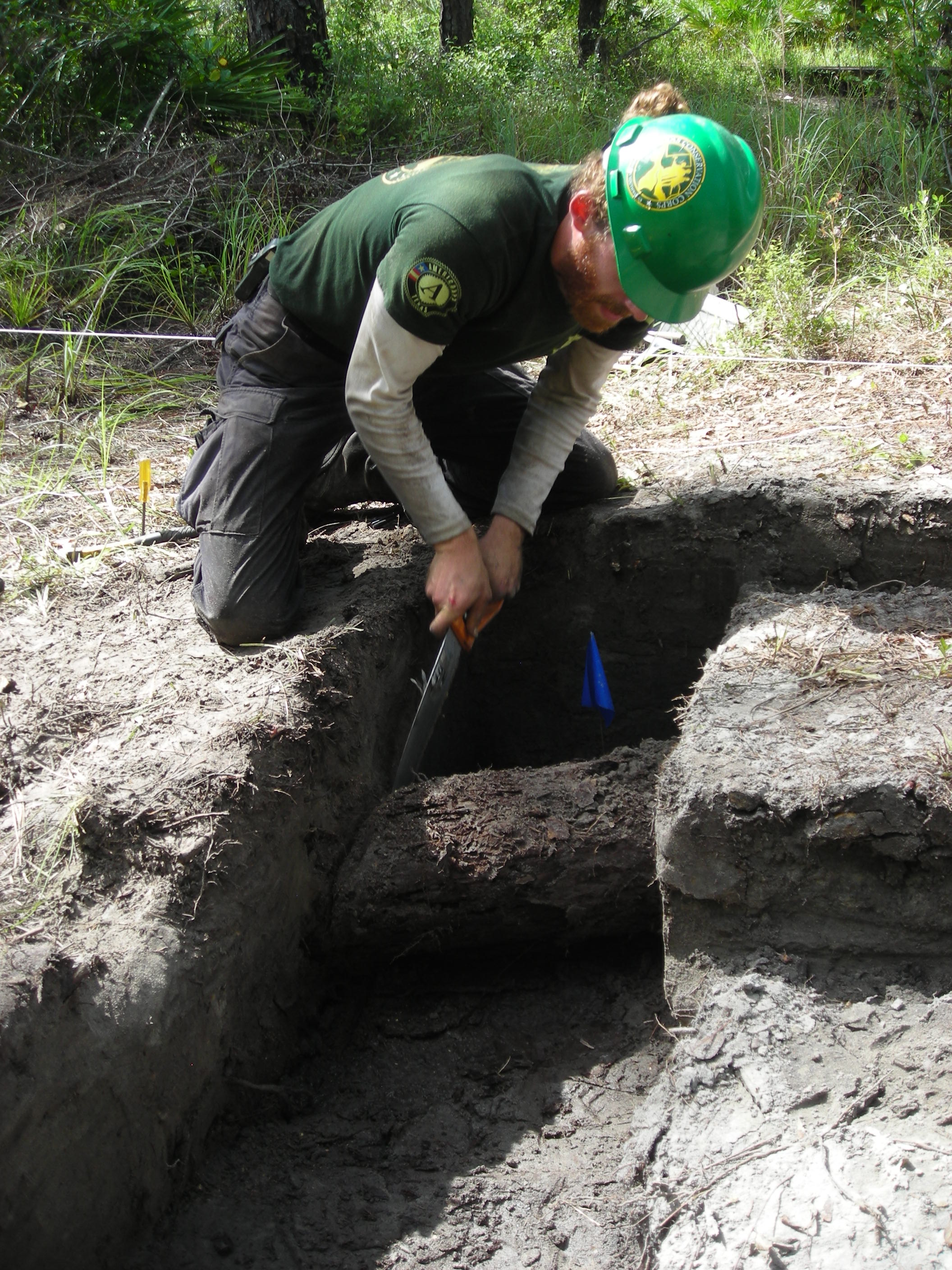 Texas Conservation Corps member removes a section of timber from the original 1812 fort for future study and interpretation. The remainder of the structure timber was left in place. (U.S. Forest Service photo/Rhonda Kimbrough)