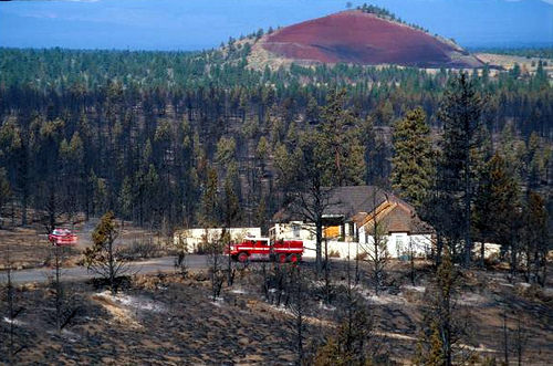 A photo of a House saved from fire in wildland-urban interface in central Oregon. Photo credit: US Forest Service