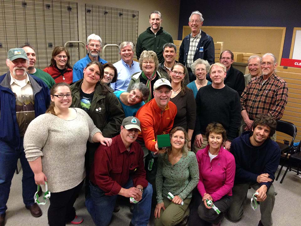 A photo of members of the Mt. Hood Chapter of the Pacific Crest Trail Association.