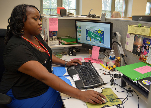 A photo of Shray Jackson, an administrative support specialist in the Forest Service Washington Office, is a graduate of the Potomac Job Corps Center in the District of Columbia.