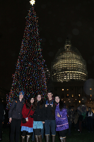 Chugach Children's Forest Alumni attend the 2015 U.S. Capitol Christmas Tree lighting. (Photo credit/James Edward Mills – The Joy Trip Project)
