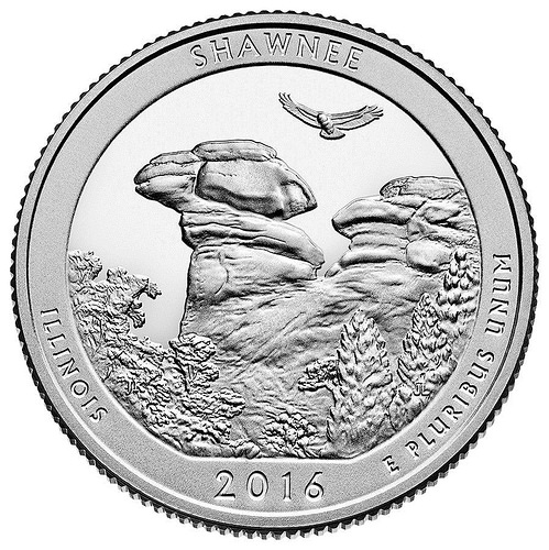 A photo of Shawnee National Forest's Camel Rock is as depicted on the United States Mint's new America the Beautiful Quarter.