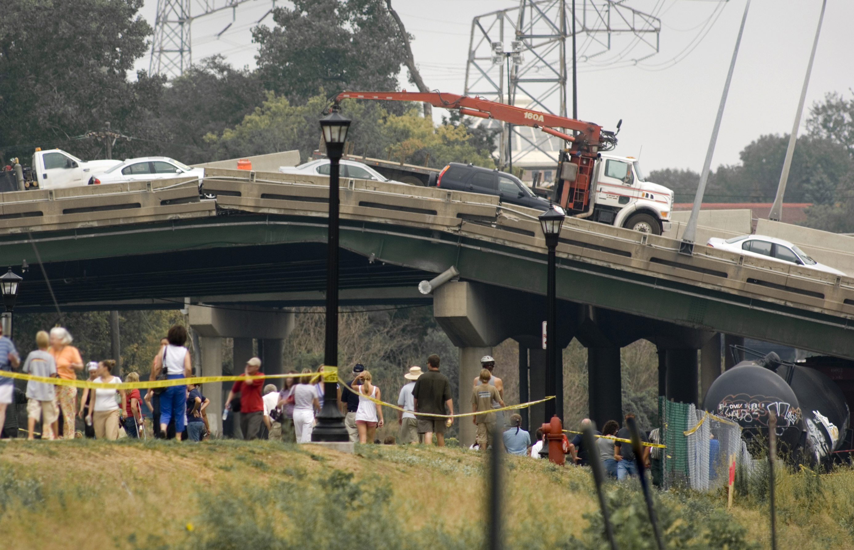 A scene from the 2007 collapse of the Interstate 35 bridge near Minneapolis.