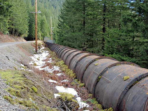 The pipe that used to divert all of the water from the Oak Grove Fork of the Clackamas River. The 70 to 100 cubic feet per secon
