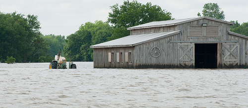 A photo of the Mississippi River flooding in 2011.