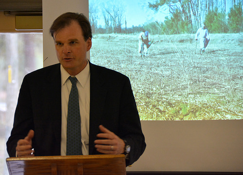 A photo of USDA Under Secretary Robert Bonnie speaking to local, state and federal partners in South Carolina.