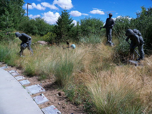 Inscribed granite stones line the walkway at the Wildland Firefighters Monument in Boise, Idaho.