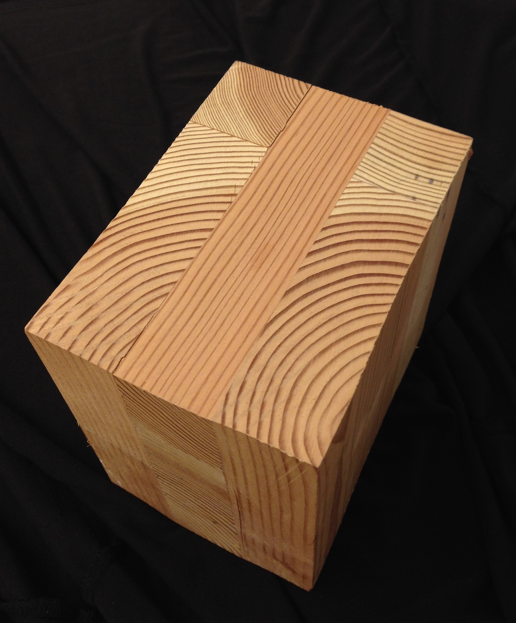 A block of cross-laminated timber or CLT