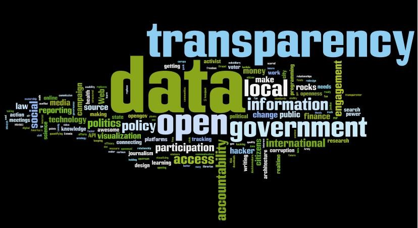 Graphic: A black background with dozens of multicolored words in different sizes. Words like transparency and data and open and government