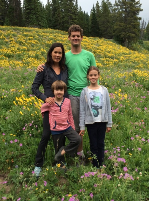 Michelle Kondo with her family in Yellowstone National Park.