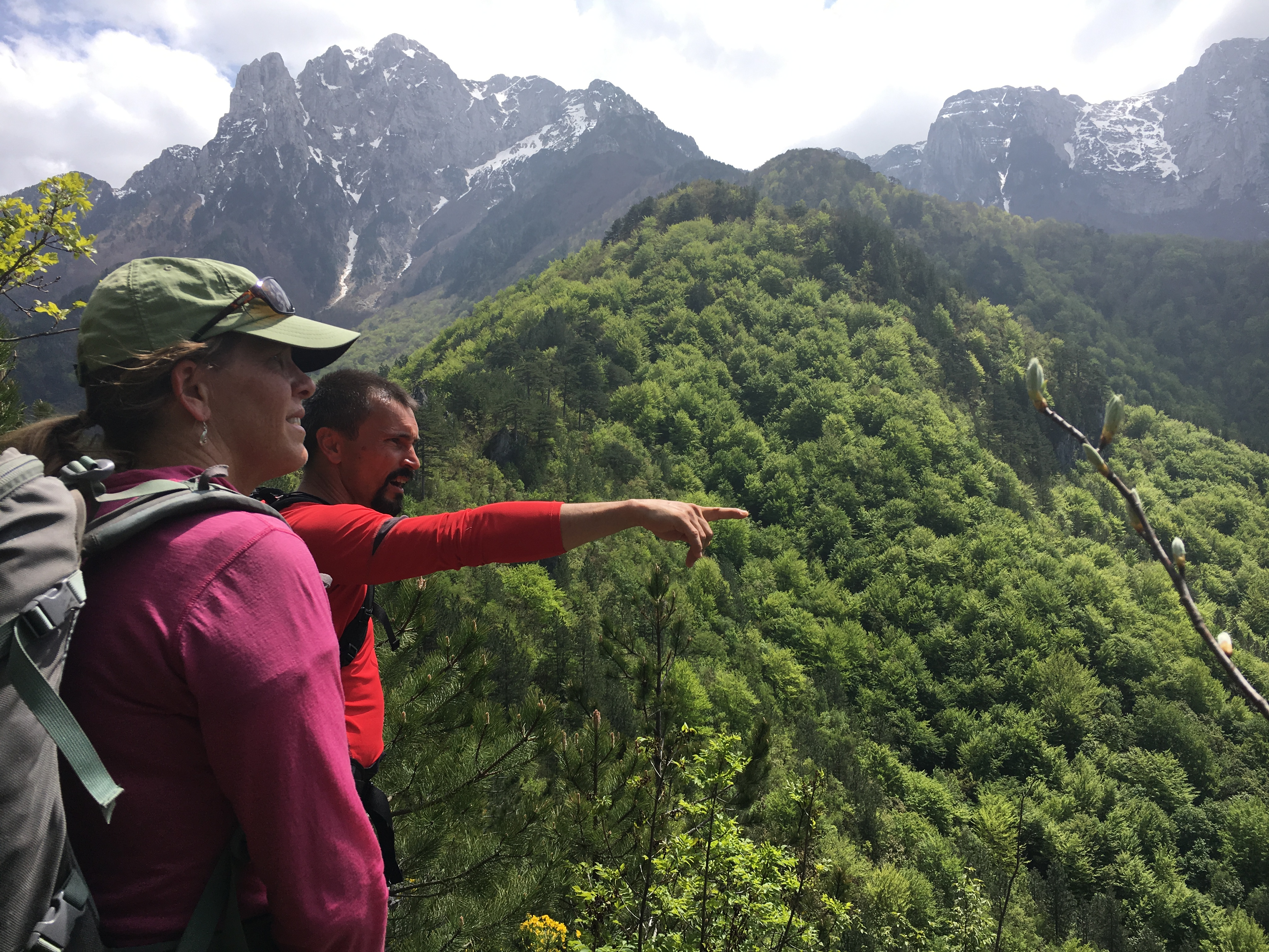 Kenan Muftic, technical advisor for Terra Dinarica, points out features of the trail and landscape to Cindy Ebbert during her recent work in Bosnia and Herzegovina.