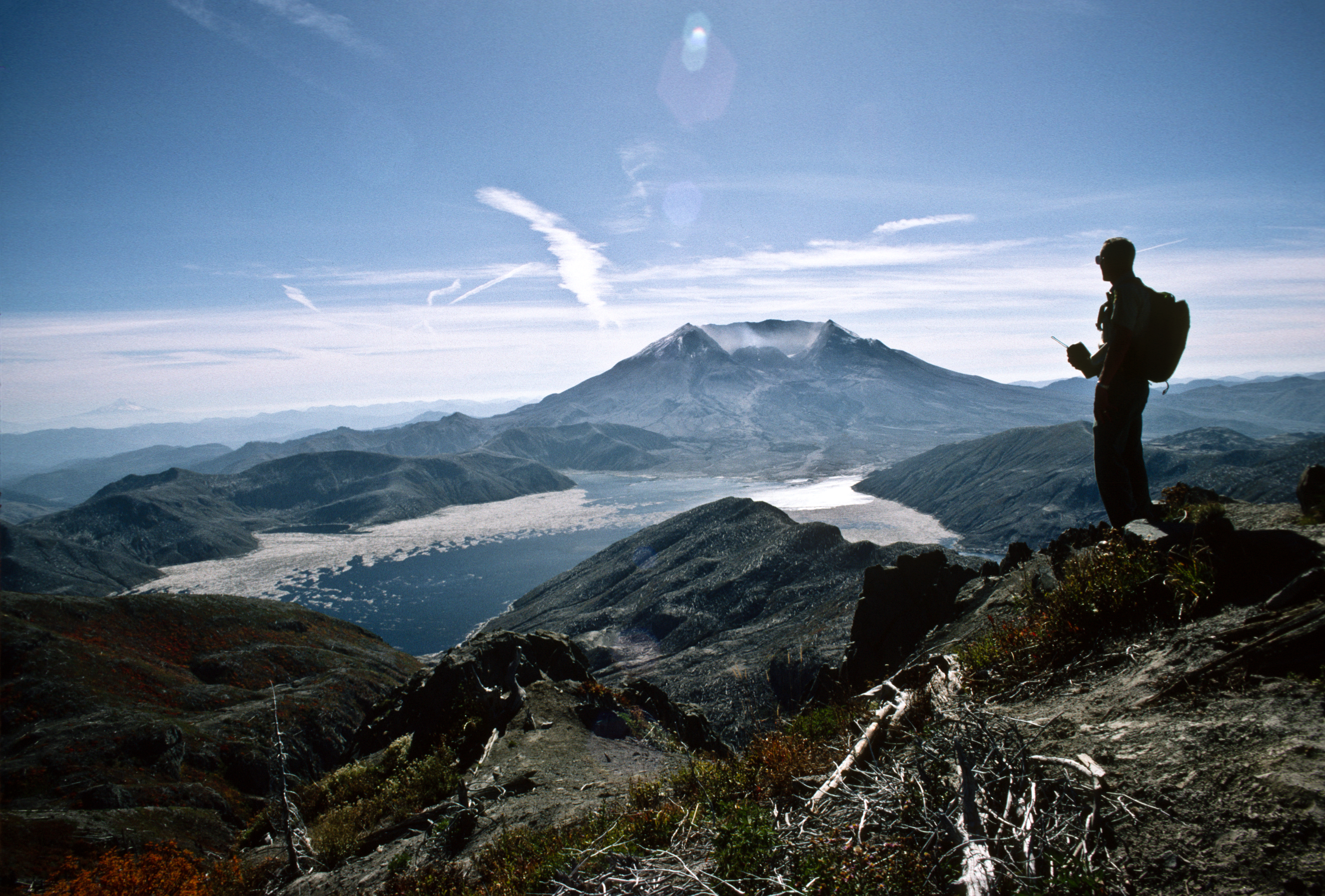Backcountry Ranger Viewing Spirit Lake and Mt St Helens, Gifford Pinchot National Forest