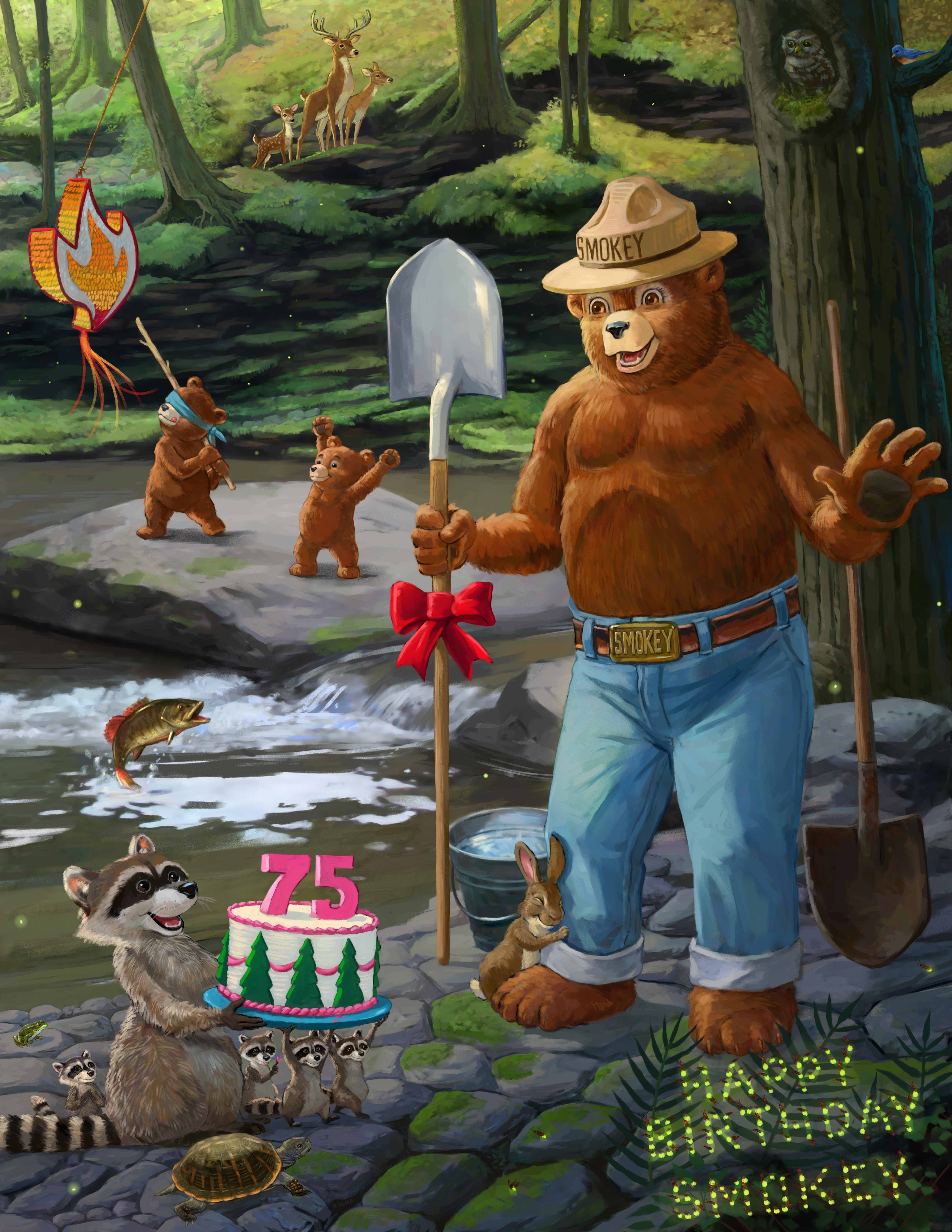 An illustration of Smokey Bear holding a shovel with a racoon holding a birthday cake with the number 75 on the cake.