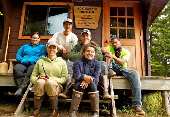 A photo of YCC crewmembers in Kootznoowoo Wilderness, Alaska