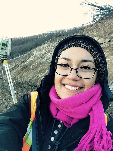 A photo of Angelica Perez-Delgado takes a selfie in the freezing temperature of winter in the mountain of the nation of Georgia.