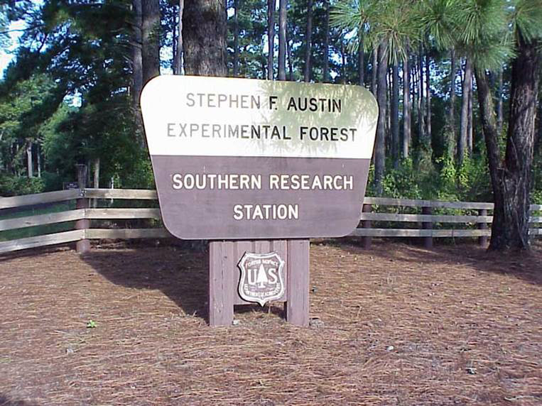 Photo: Entrance sign to Stephen F. Austin Experimental Forest, Southern Research Station. Forest Service insignia appears below.