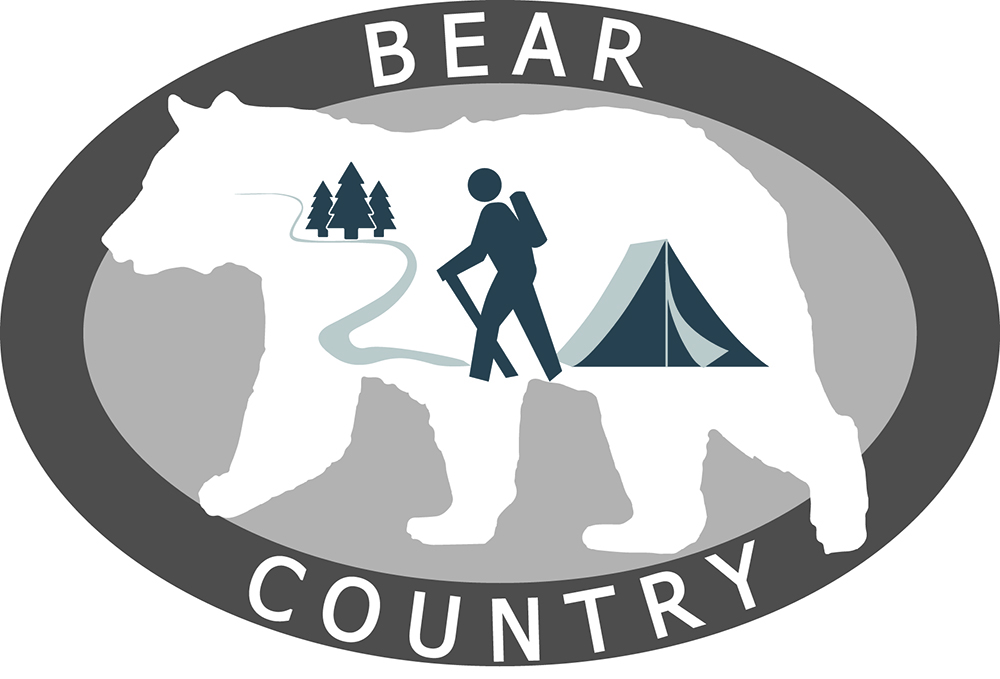 A graphic with a grey bear icon. it reads bear country