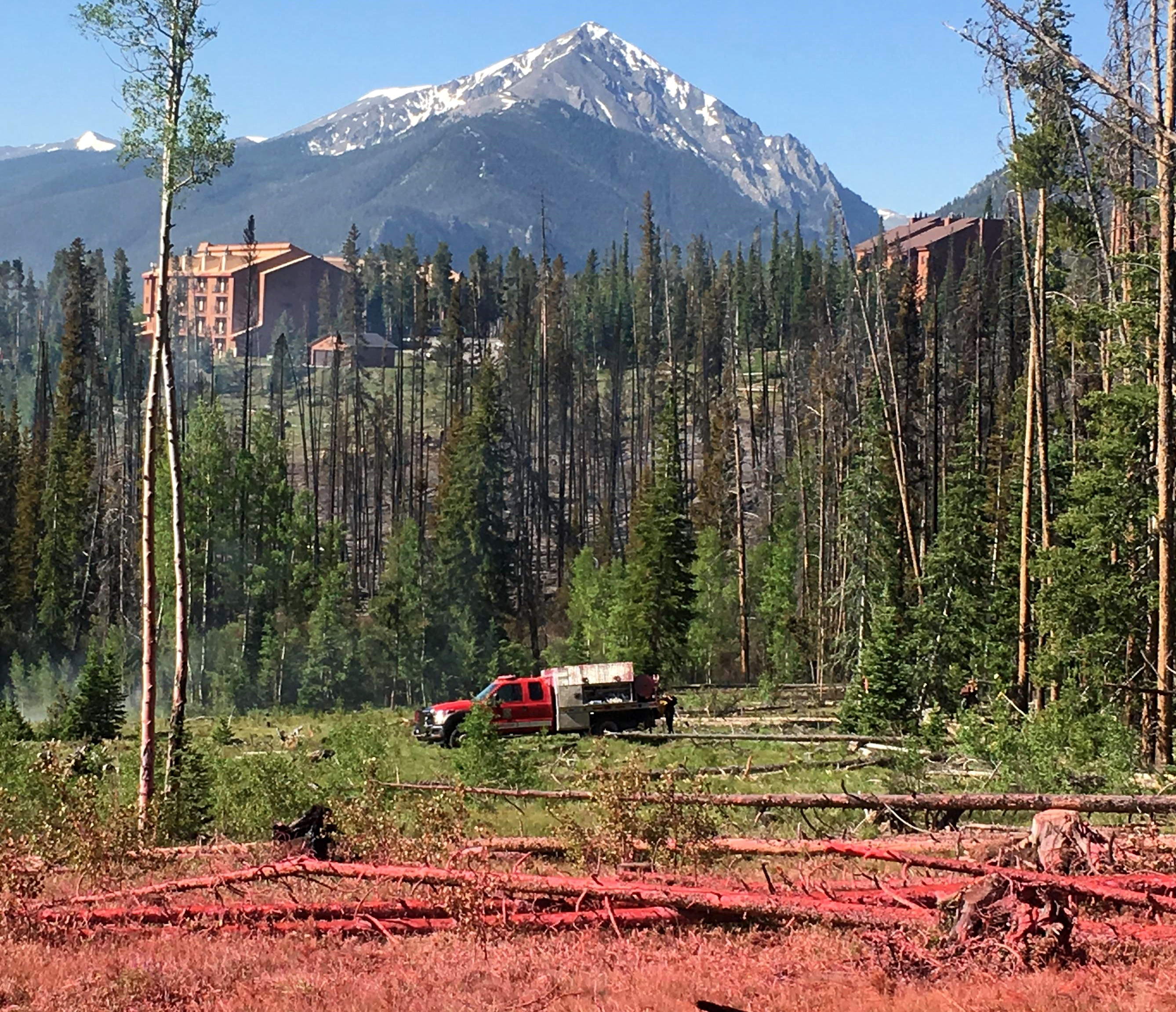 Photo: A tanker sits in the center of a green clearing. Slurry (fire retardant) covers the foreground.
