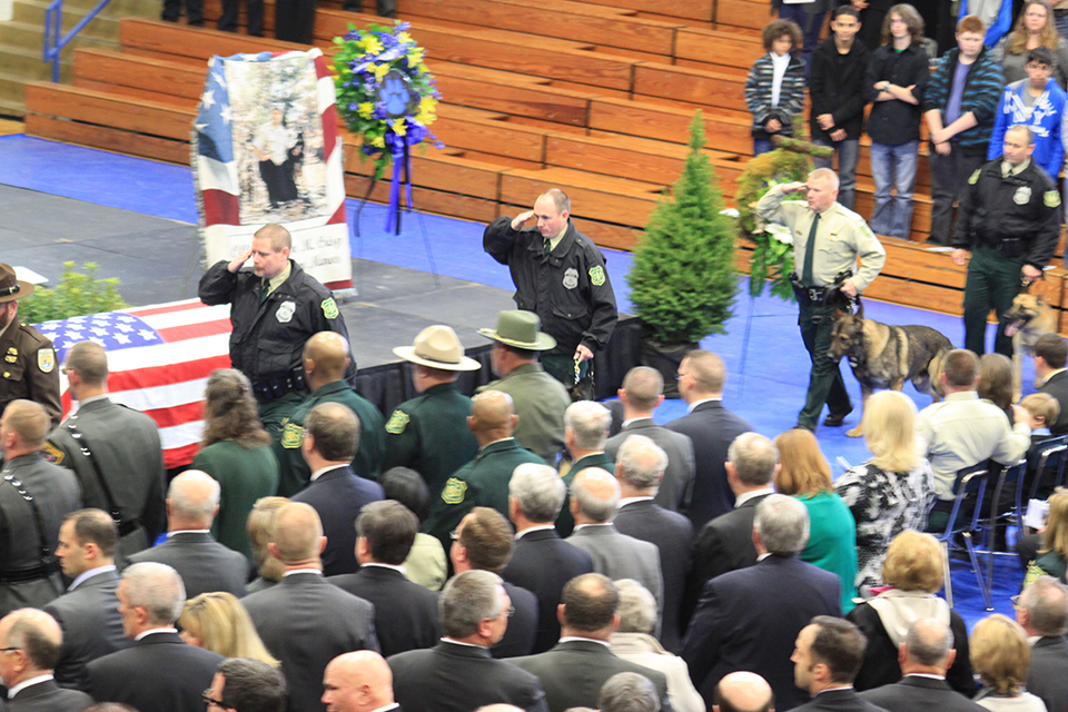 A photo of The memorial ceremony for U.S. Forest Service Law Enforcement Officer Jason Crisp and his K-9 partner Maros