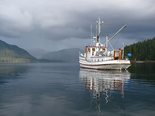 A contemporary photo of the M/V Chugach ranger boat.