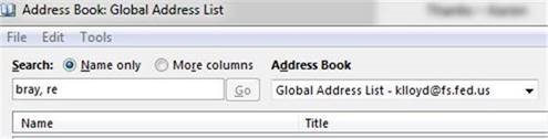Snapshot of Outlook address book.
