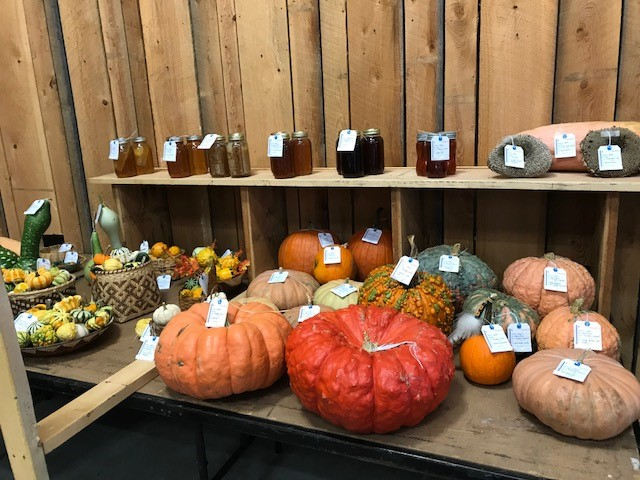 A photo of Sweet sourwood honey and a bevy of vibrant gourds and squash on display at the Cherokee Fall Festival