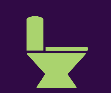 A graphic of a toilet bowl