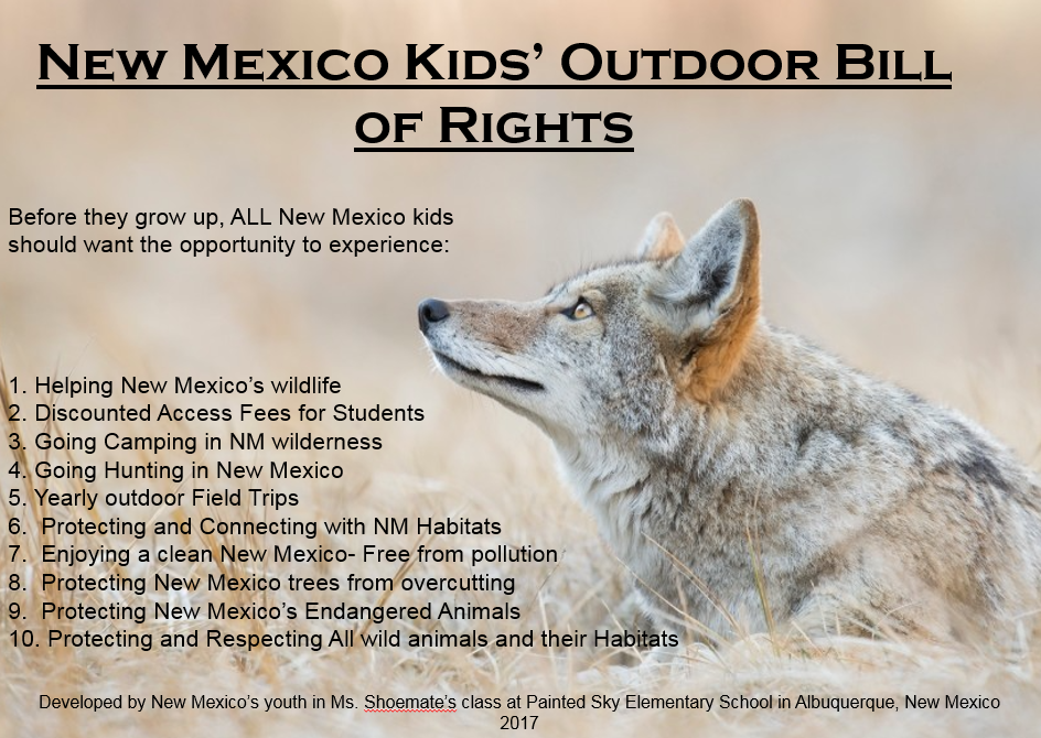 Graphic: A picture of a coyote on the right and a list of the New Mexico's Kid's Outdoor Bill of Rights on the left