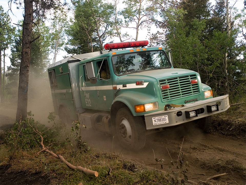 A photo of Engine 32 from the Plumas National Forest working their division on the Waldo Canyon Fire in Colorado in 2012.