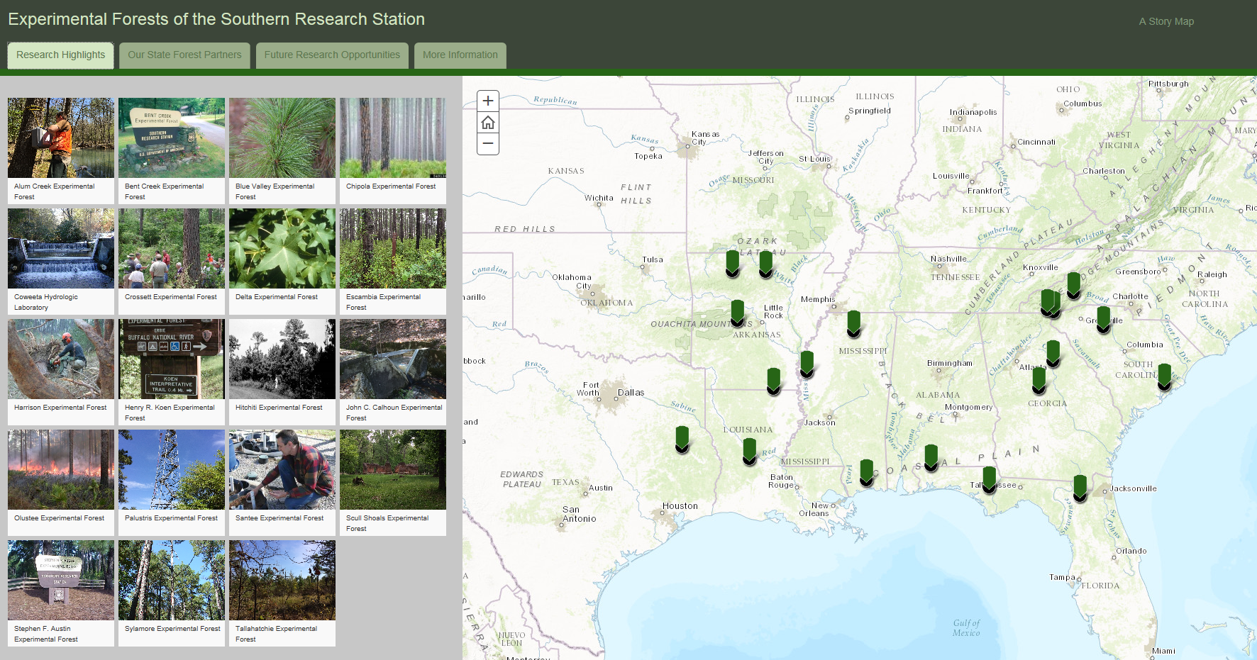 Screen shot: map of United States with green arrows on right. On left, small tile photos of experimental forests.