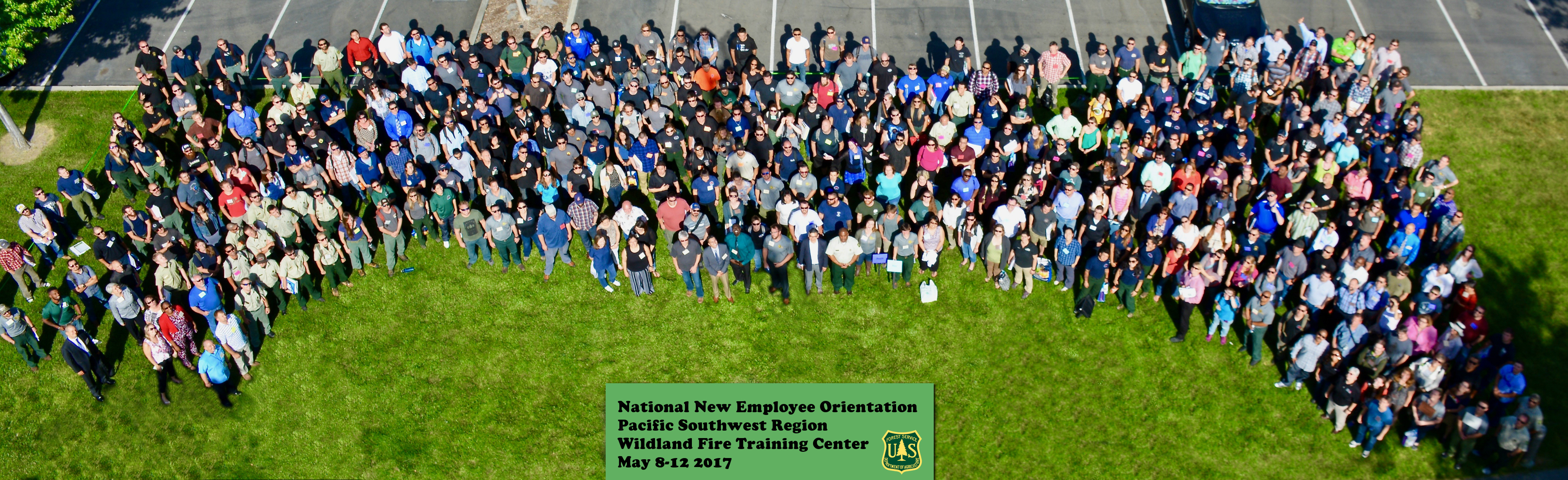 Aerial group photo from the National New Employee Orientation, PSR Wildland Fire Training Center