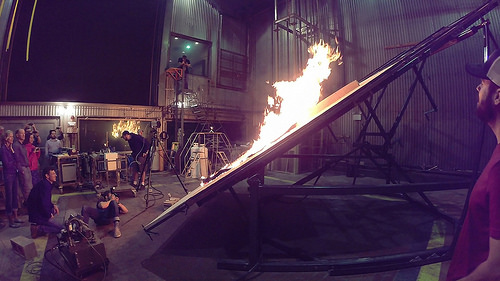A photo of Researchers prepare for the next phase in examining physical fire processes by adding the effect of a slope.