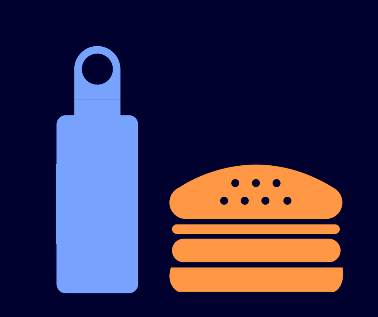 A graphic of a water bottle and hamburger