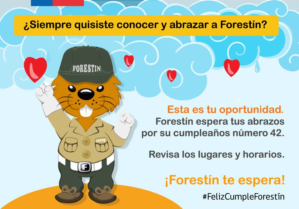 An illustration of Forestin who is the mascot of the National Forestry Corporation (CONAF) of Chile. (Courtesy graphic.)