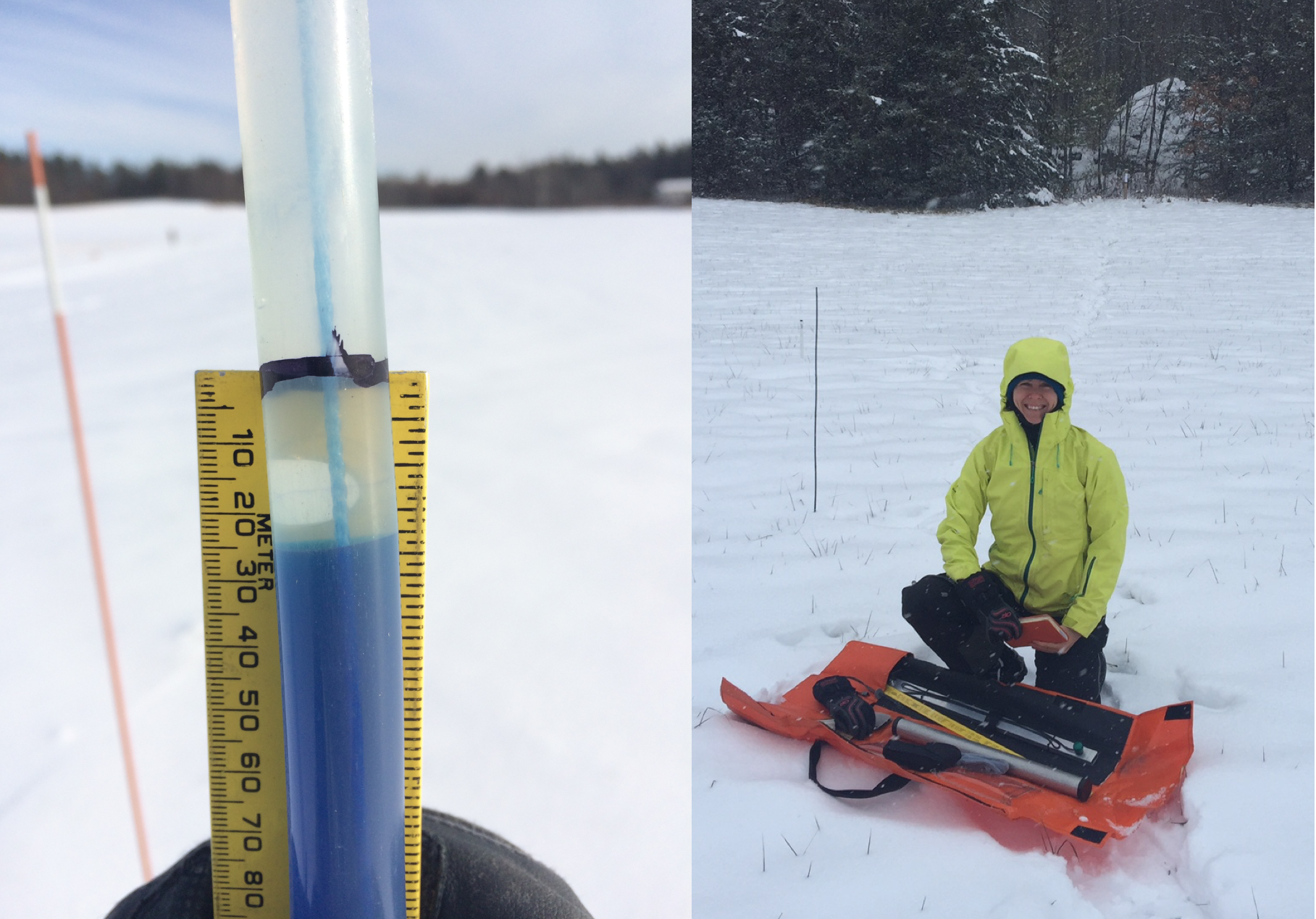 A low-cost ($25) soil frost tube (left) constructed from flexible PVC tubing and filled with a solution of methylene blue and water; the partner project lead, Dr. Elizabeth Burakowski, measuring snow at a local field site in New Hampshire.