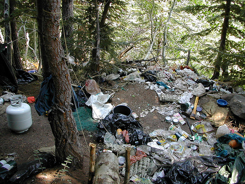 A photo of a small portion of the garbage and debris left in the forest at a drug trafficking organization's marijuana grow site on the Shasta-Trinity National Forest in California.