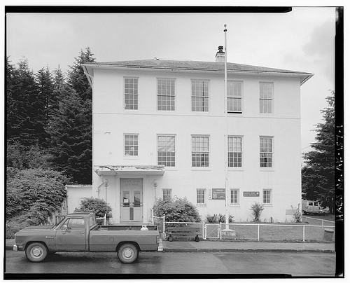 A photo of the historic Cordova, Alaska courthouse and post office