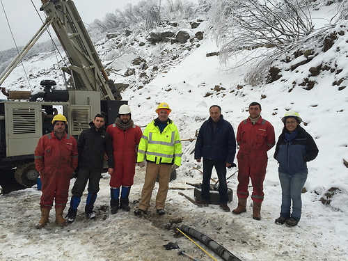 A photo of Angelica Perez-Delgado (far right) with an international drilling crew.
