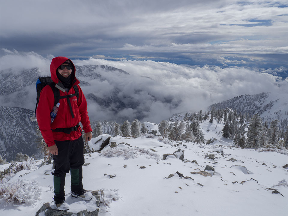 A photo of Joey Chong ascending Mount Baldy, the highest point in Los Angeles County, California