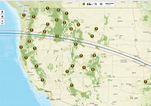 A map with the path of totality of 2017 eclipse