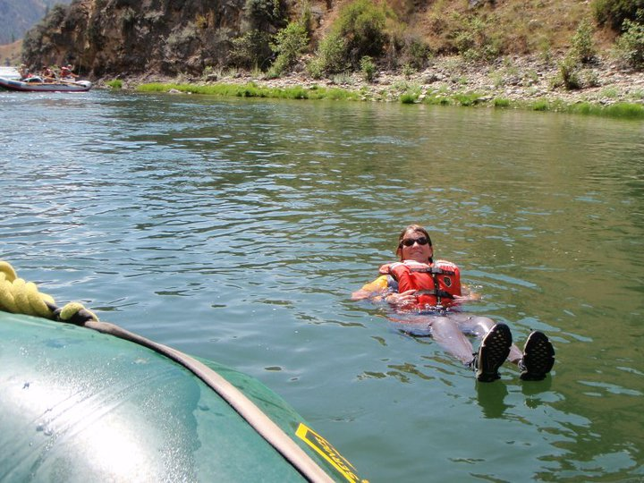 A picture of Amanda McAdams floating in the Middle fork of the Salmon River.