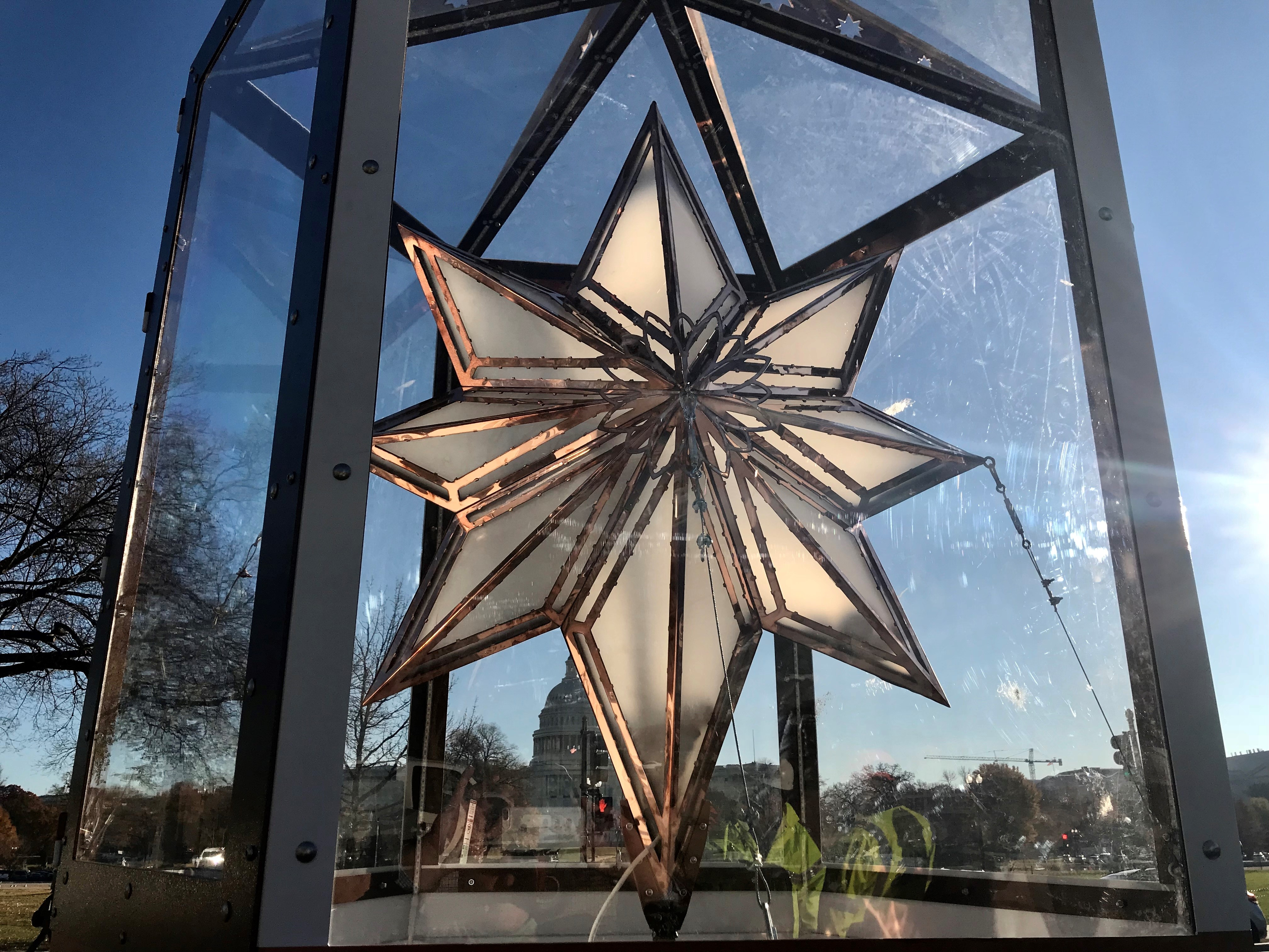 A picture of a large star that will be placed on top of the Capitol Christmas Tree.
